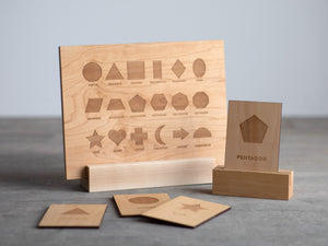 Wooden Shapes Flash Cards • Set of 18 Geometric Wood Cards