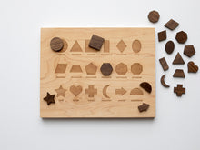 Load image into Gallery viewer, Wooden Shapes Montessori Board and Tabletop Geometry Reference Chart
