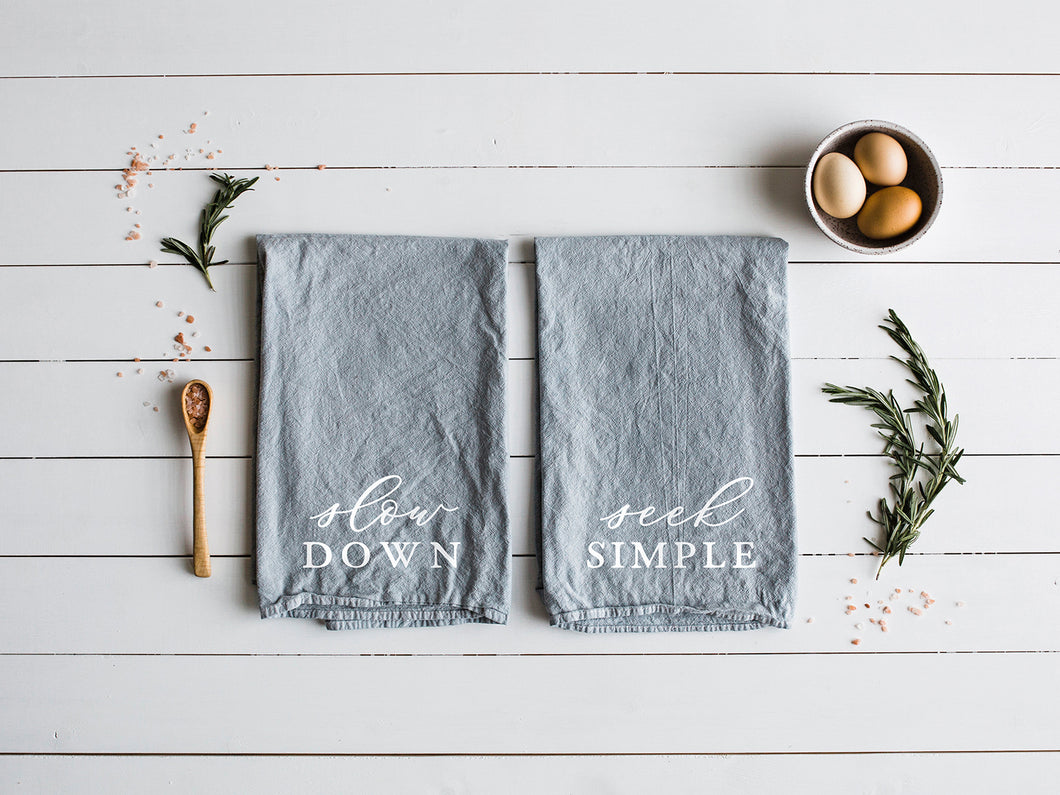 Slow Down & Seek Simple Set of Two Tea Towels