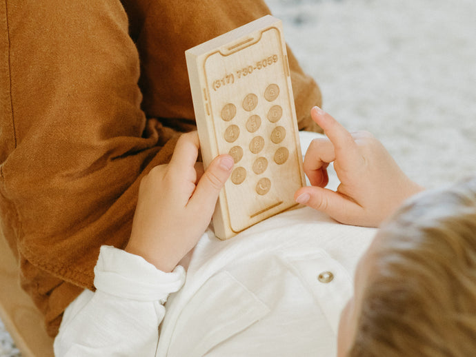 Custom Engraved Wooden Phone • Personalized Toy Smartphone