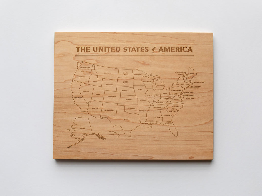 Wooden Map of the United States of America