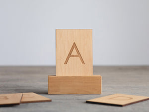 Wooden Alphabet Flash Cards • Uppercase Letters on Sturdy Wood Cards