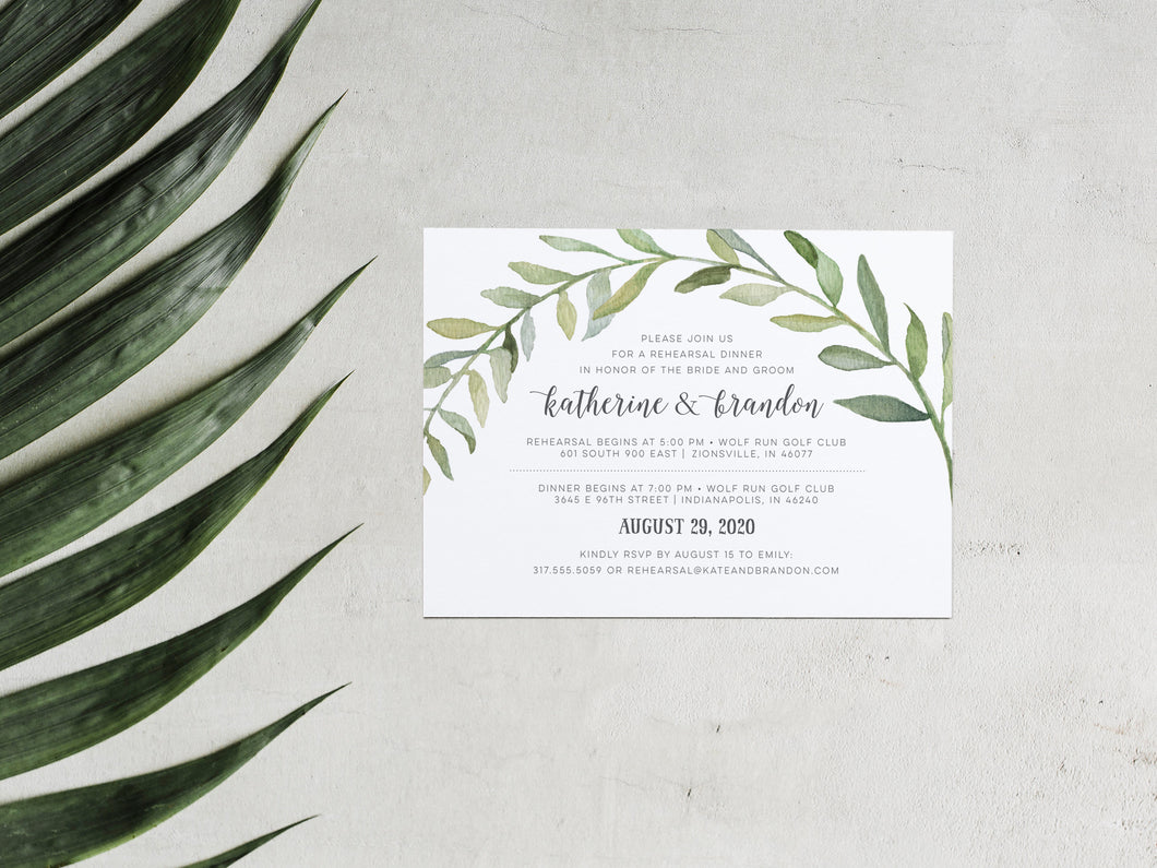 Botanical Watercolor Wreath Rehearsal Dinner Invitation