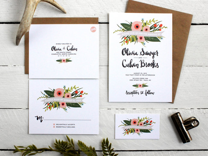 Whimsical Floral Wedding Invitations