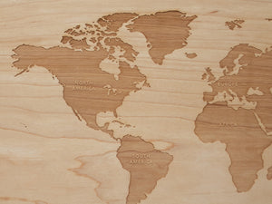 Wooden World Map & Display Stand
