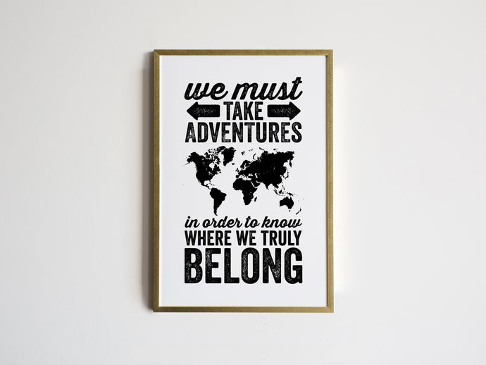 Adventures World Map Travel Print