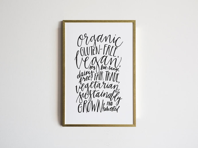 The Idealist Nutritionist Calligraphy Print