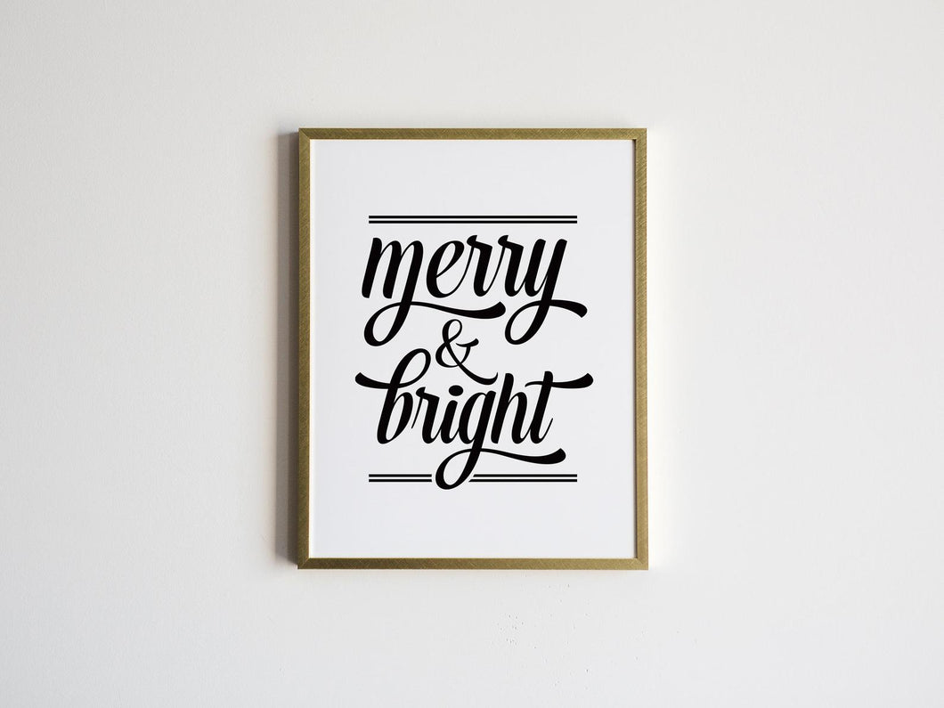 Merry and Bright White Christmas Lyrics Print