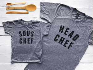 Head Chef & Sous Matching Adult and Baby Tees