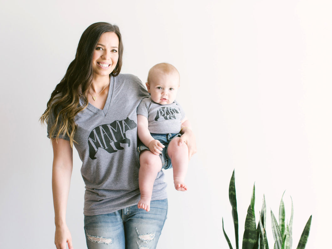 Mama Bear Tee and Baby Bear Bodysuit Matching Set