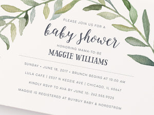 Watercolor Wreath Baby Shower Invitation