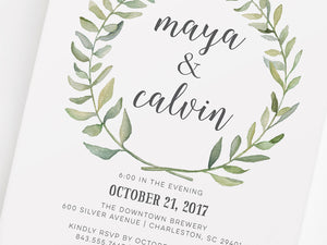 Watercolor Wreath Modern Couples Shower Invitation