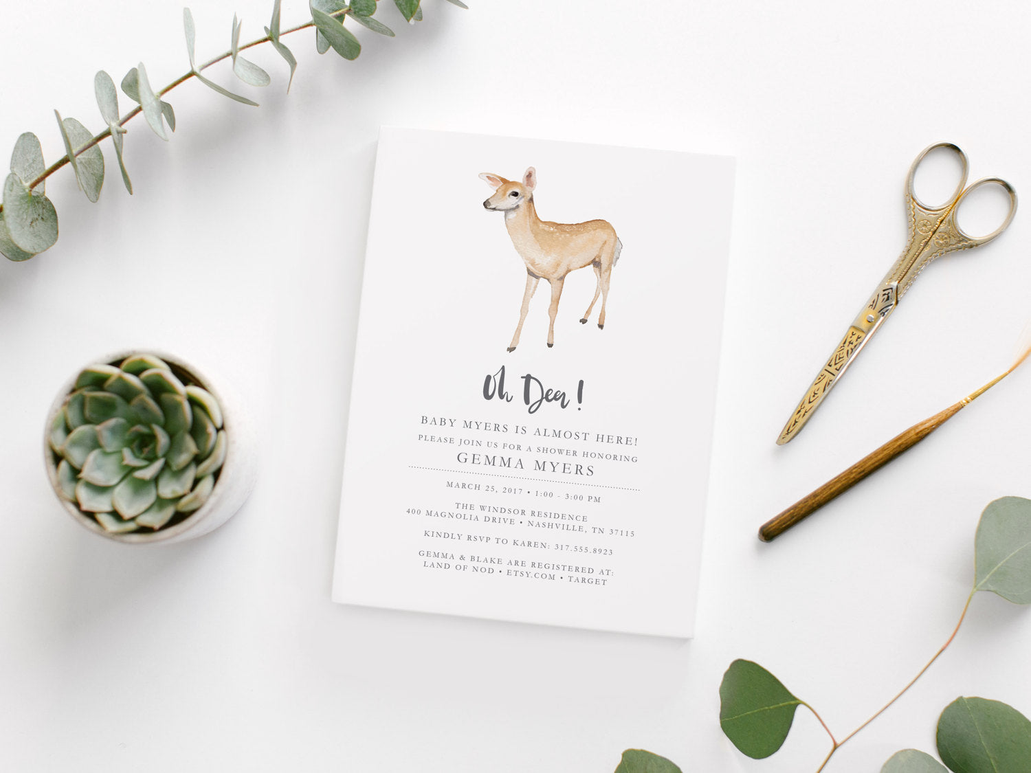 graphic about Printable Deer Target called Printable Oh Deer Little one Shower Invitation