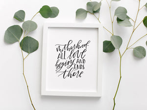 Motherhood Calligraphy Quote Print
