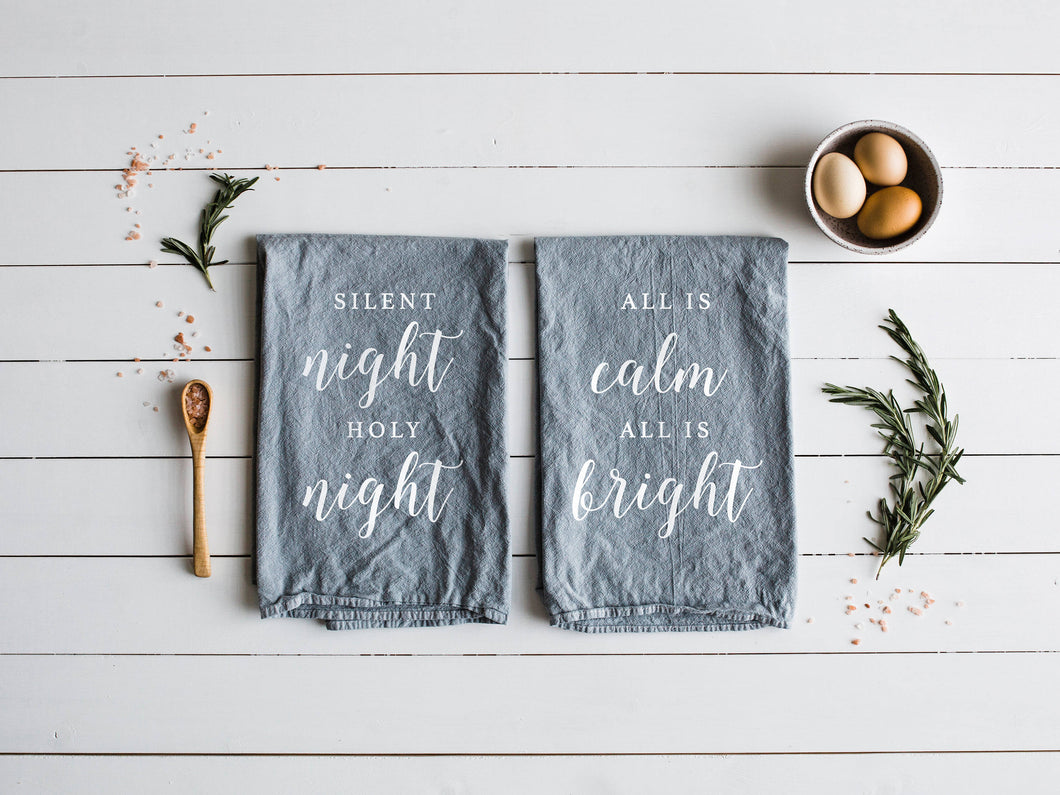 Silent Night Holy Night, All Is Calm All Is Bright Set of Two Tea Towels