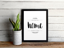 "Load image into Gallery viewer, ""Home"" Custom Watercolor Home Address Print"