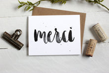 Load image into Gallery viewer, Merci Brush Lettered Thank You Card Printable