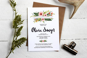 Whimsical Floral Bridal Shower Invitations