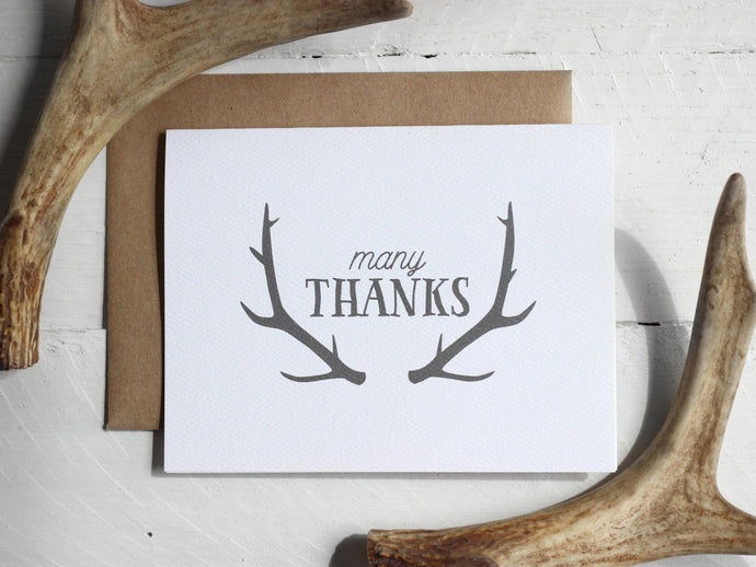 Printable Antler Thank You Card