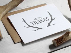 Oh Deer Themed Antler Thank You Card