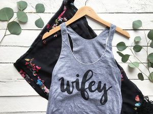 Wifey Hand-lettered Calligraphy Adult Tank Top