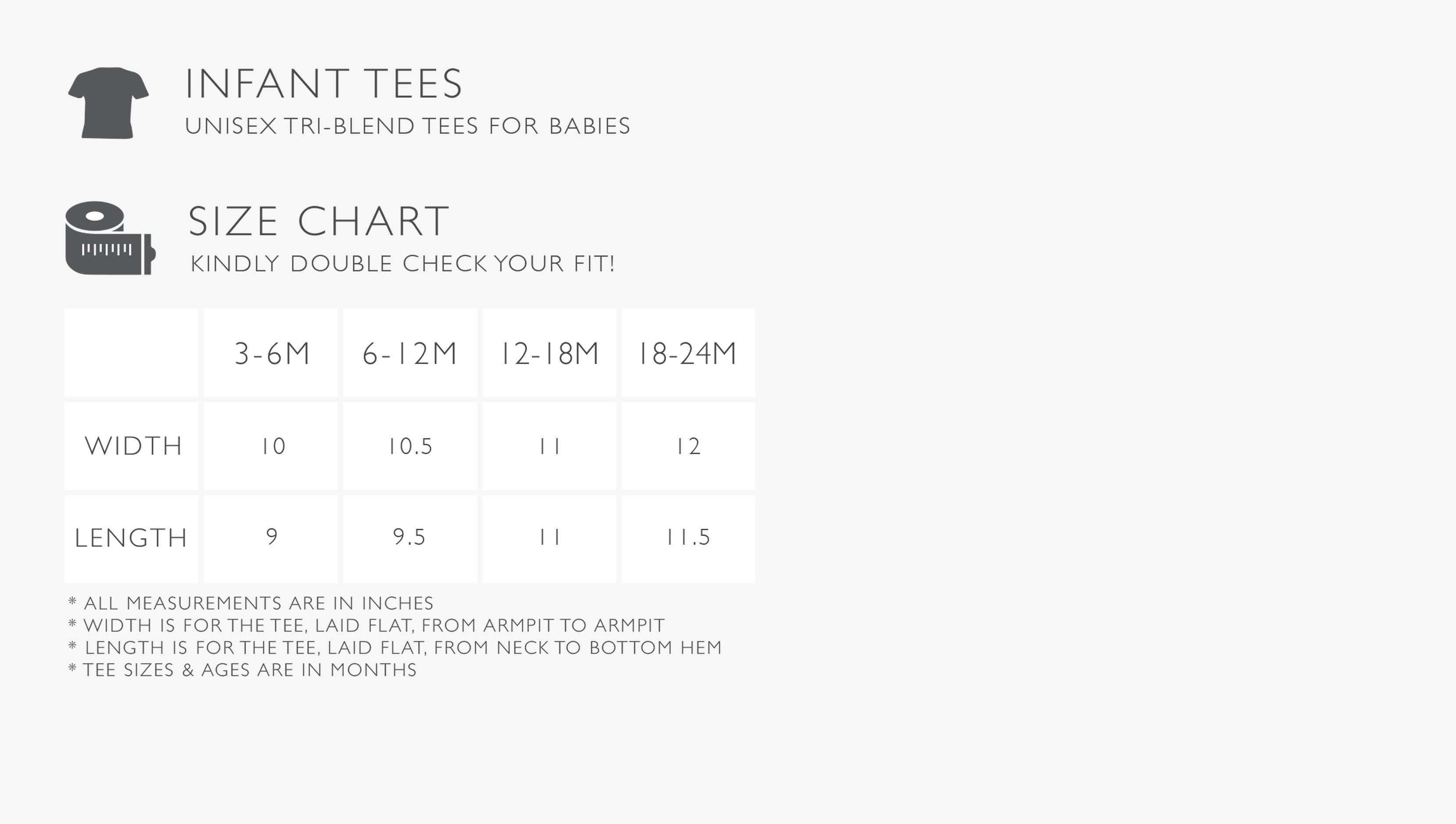 Infant Tee Size Chart