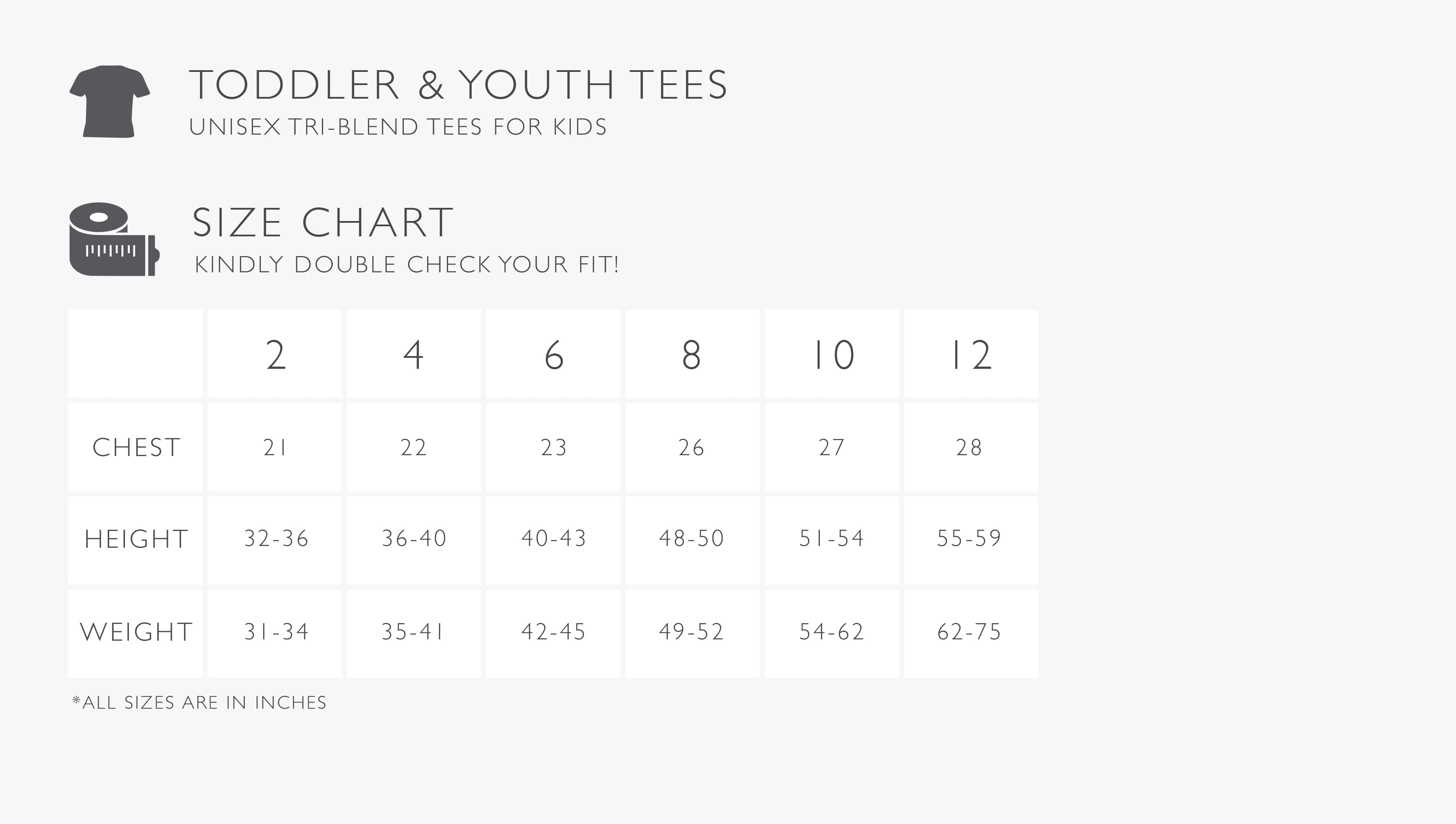 Toddler and Youth Tee Size Chart