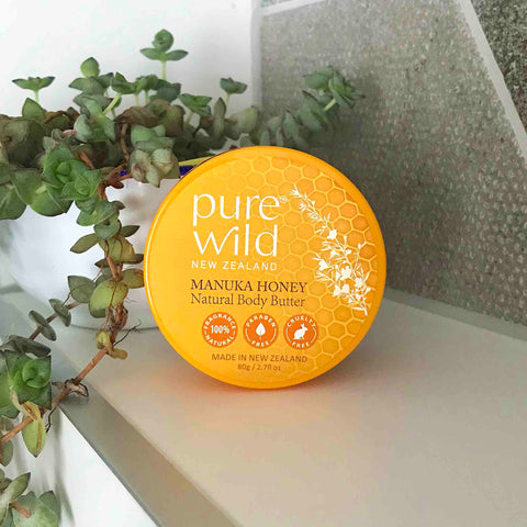 Manuka Honey Natural Body Butter 80g. Pure Wild®. Made in New Zealand.