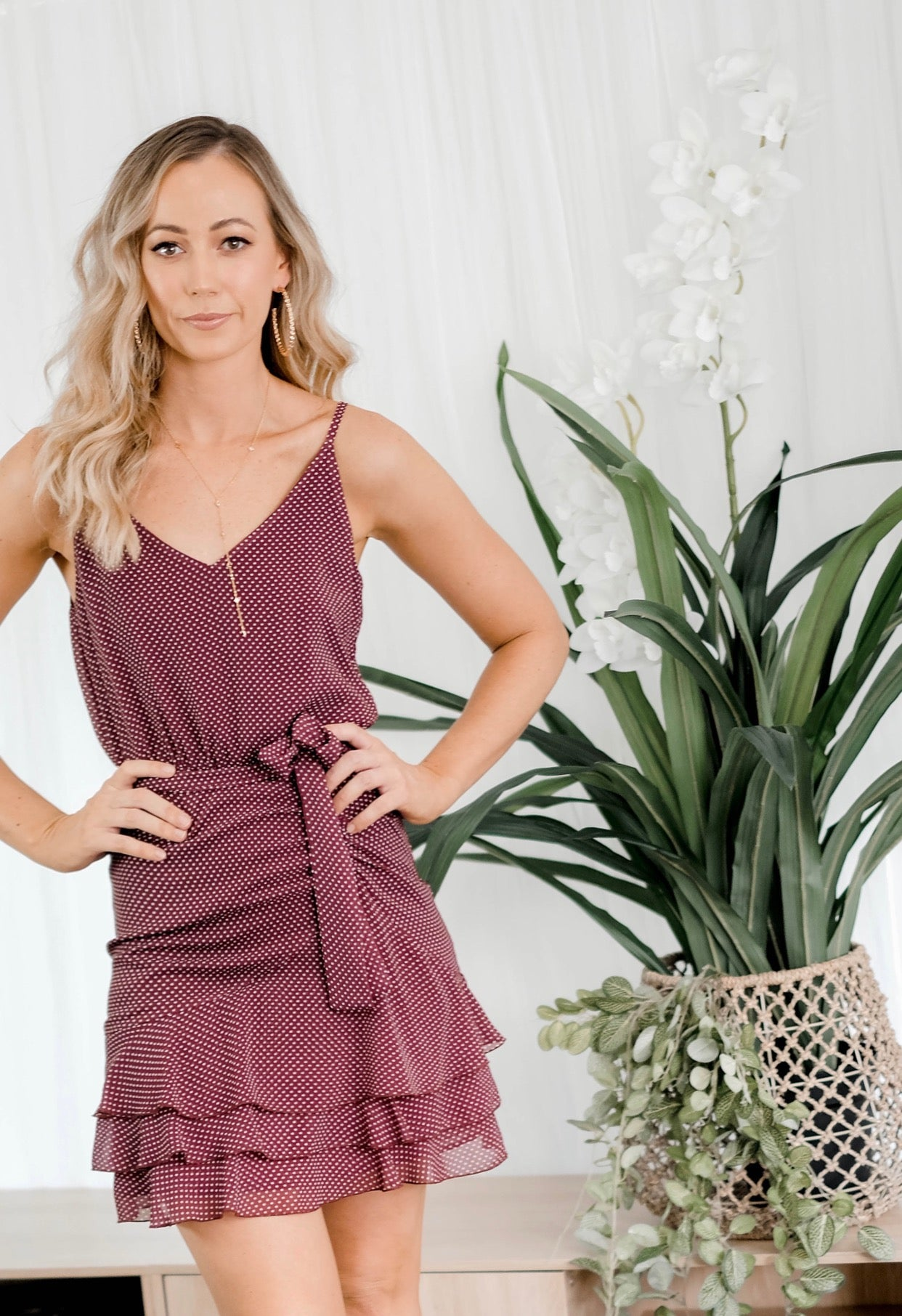 ELLIE Gathered Spot Dress