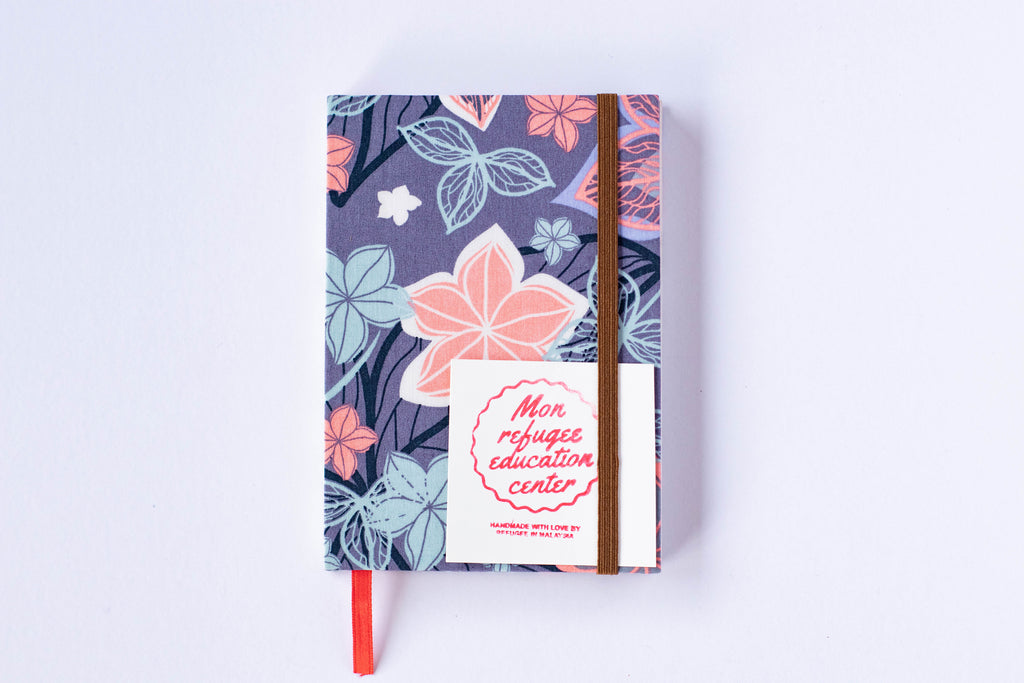 Mon Children's Handmade Notebook (Blue and pink flowers)