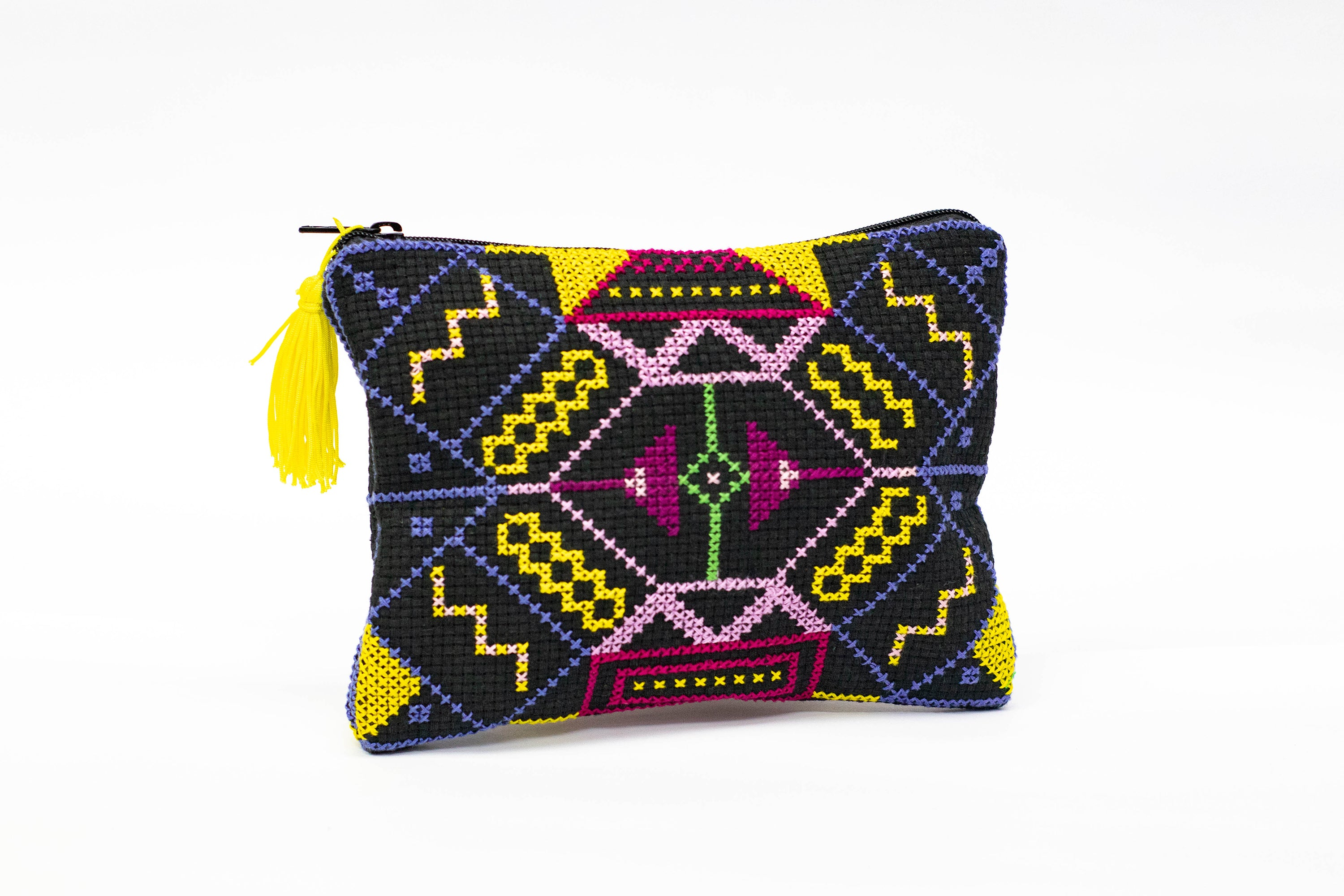 Cross-stitch ethnic purse  (Black)