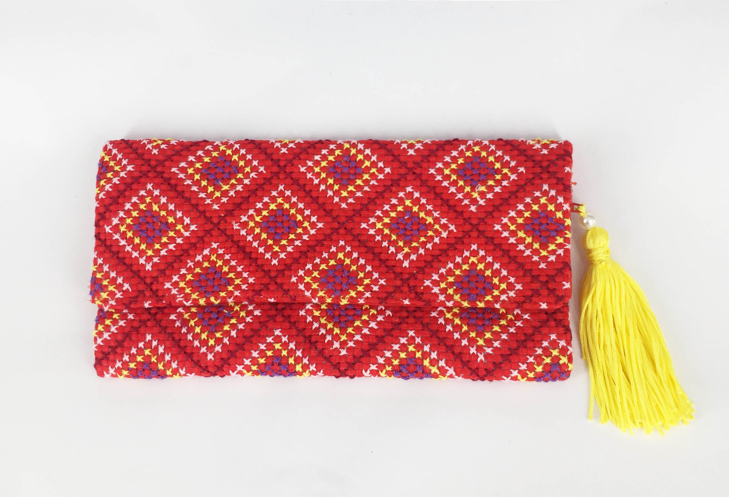 Cross stitch purse (Red/Yellow)