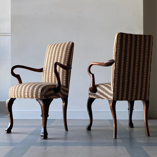 19th C. English Armchairs with Salem Stripe Upholstery