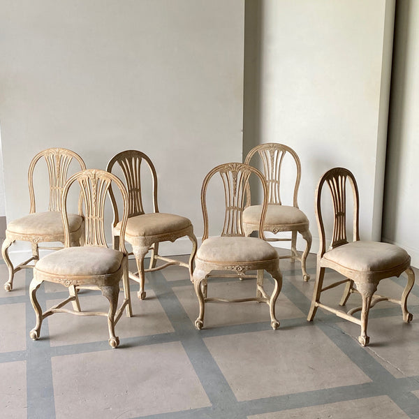 Set of Six 18th C. Swedish Chairs