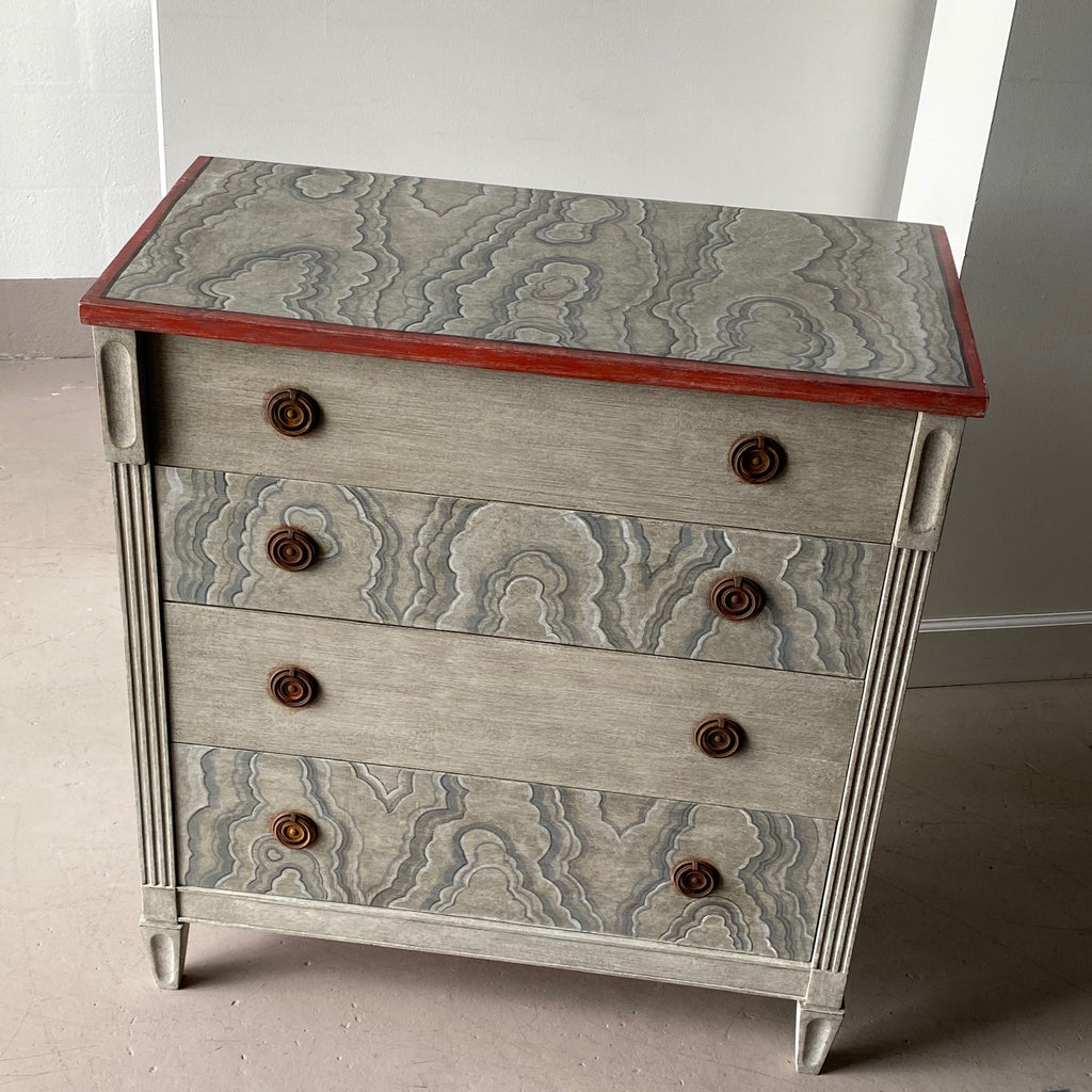 Faux Beige and Black Onyx Gusto Painted Chest