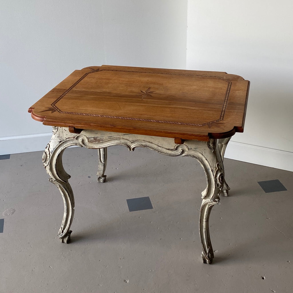 French Inlaid Oak Tea Table