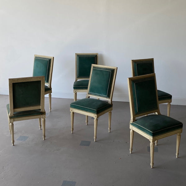 Set of Six Louis XVI Painted Dining Chairs - Stamped 1764