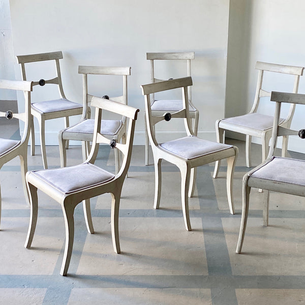 Set of Eight Swedish Dining Chairs with Lion Emblem