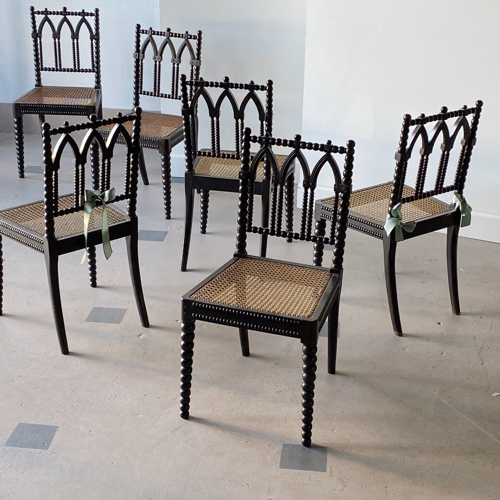 Victorian Bobbin Neo-Gothic Ebonized Chairs