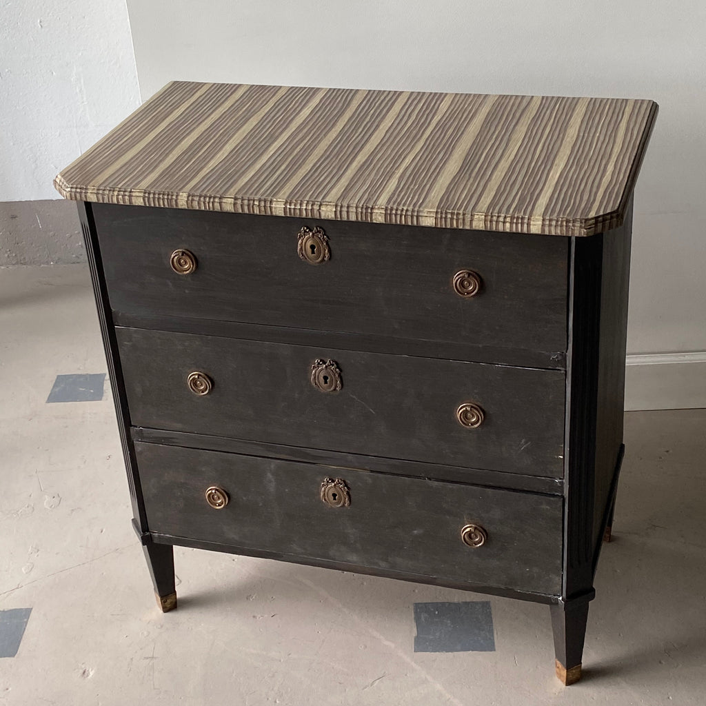 Gusto Painted Bande de Bois Three Drawer Ebonized Chest