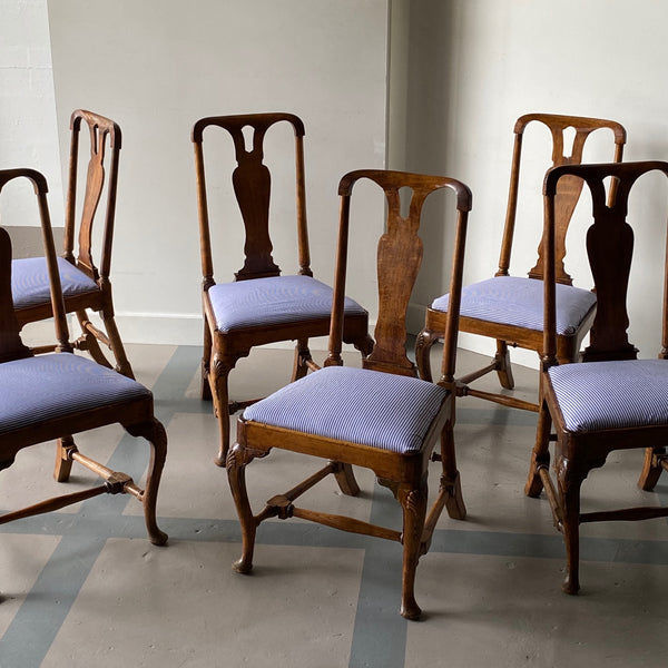 Set of Six 18th C. Beechwood Chairs