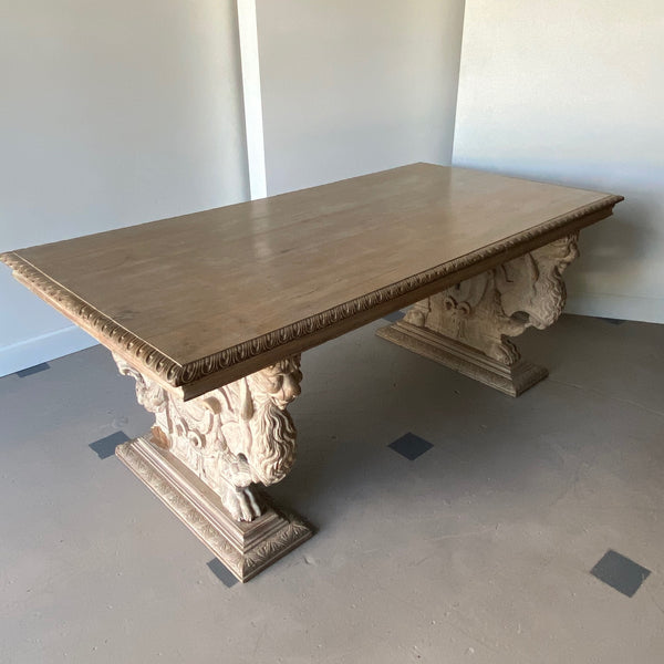 19th C. Carved Spanish Trestle Table
