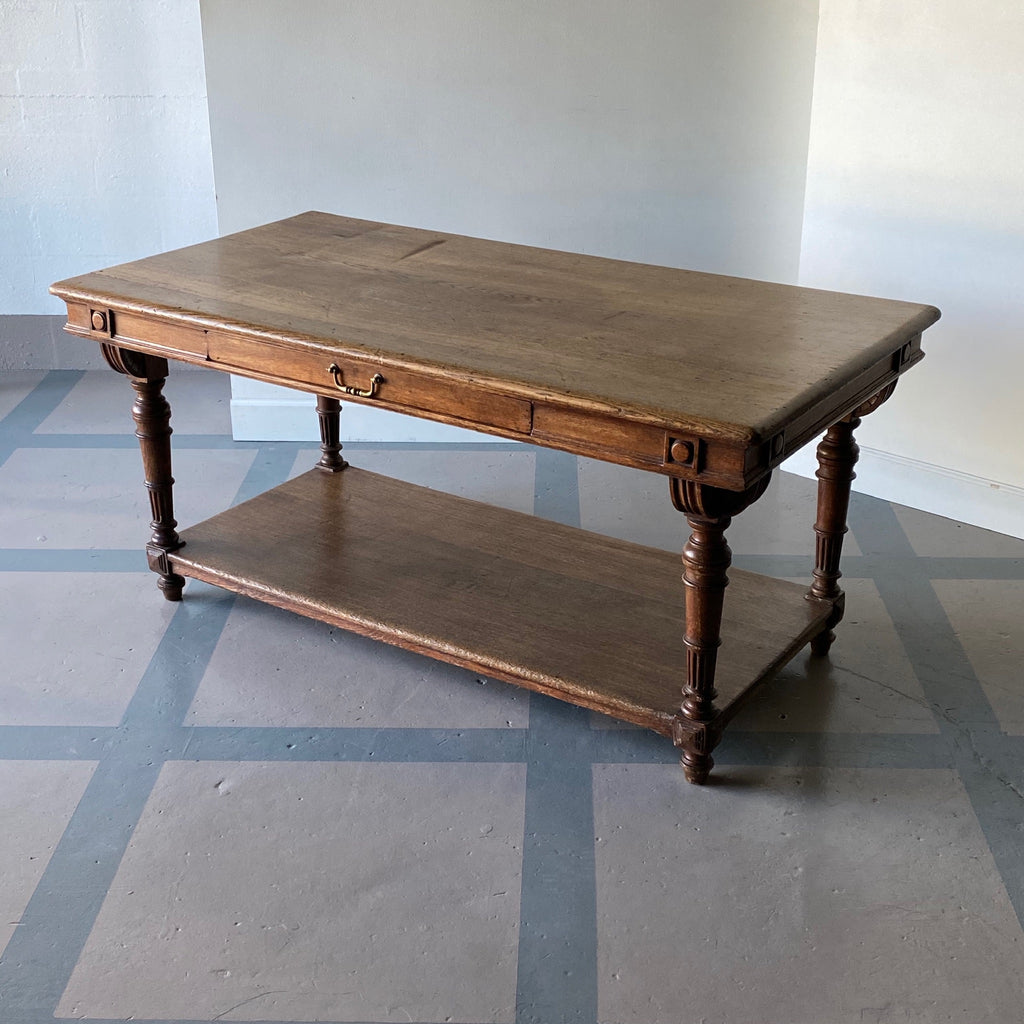 19th C. Baroque Oak Library Table