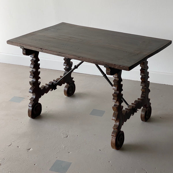 19th C. Spanish Table with Iron Stretcher