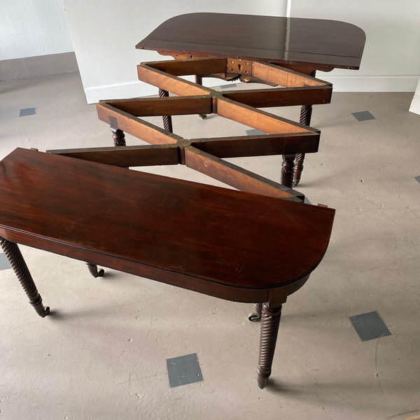 19th C. Regency Mahogany Accordion-Action Dining Table