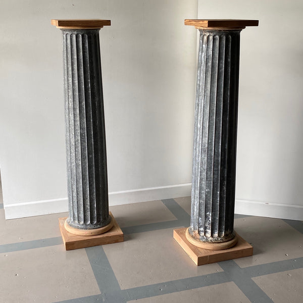 Pair of Zinc Pedestal Columns