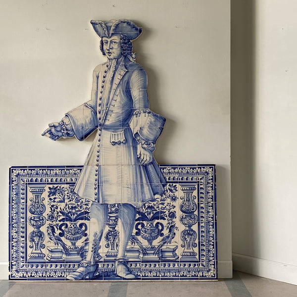 Portuguese Blue and White Glazed Figural Azulejo
