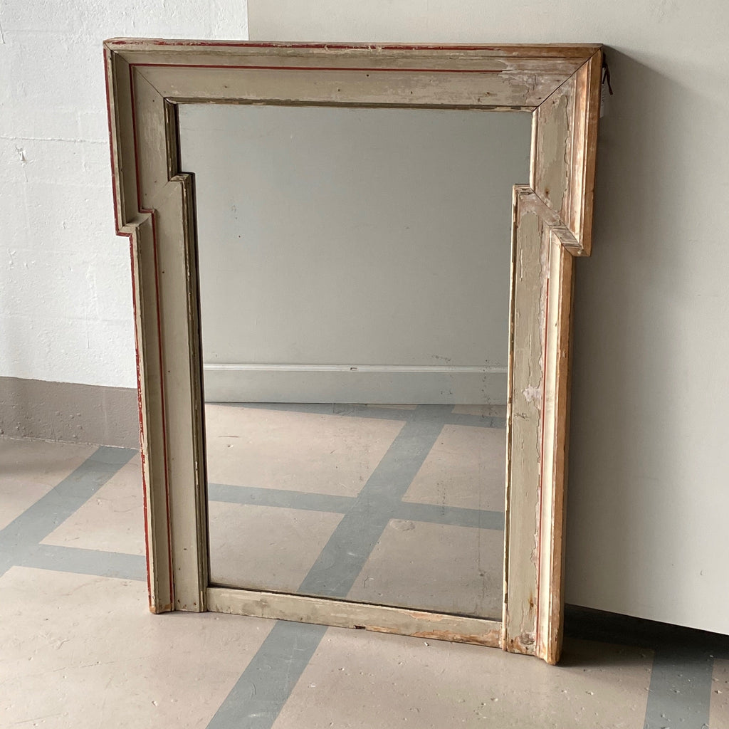 French Painted Mirror with Red Trim