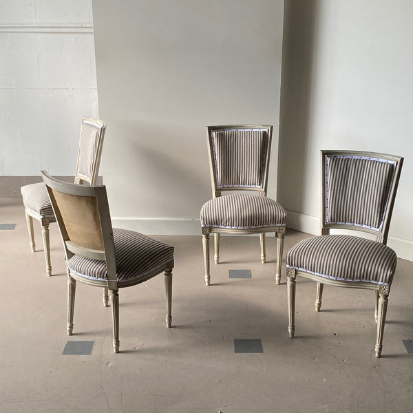 Set of Four 19th C. Louis XVI Style French Painted Dining Chairs