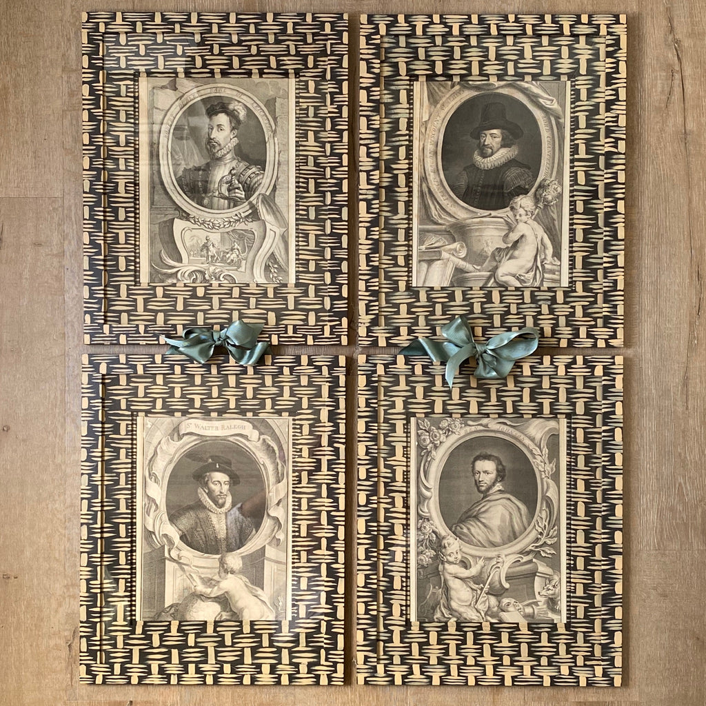 Set of Four 18th C. Copper Engravings in Gusto Painted Basketweave Frame and Mat